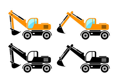Excavator vector icons on white background  Ilustração