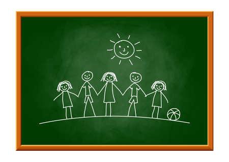 Drawing of children on blackboard.