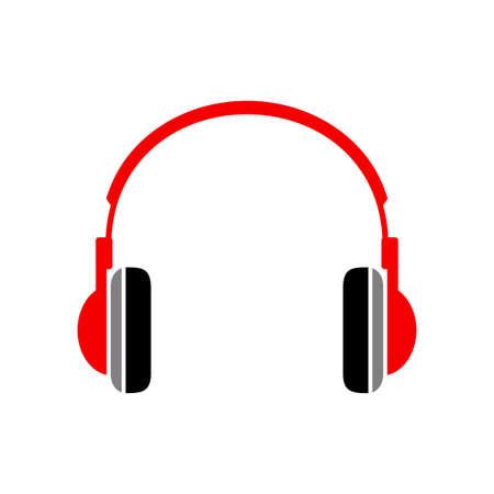 portable audio: Red headphones icon on white background