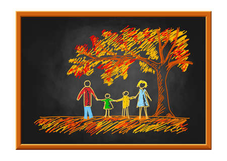 Family drawing on blackboard, autumn tree