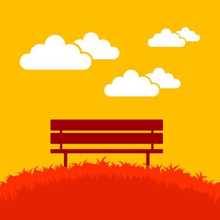 Bench in autumn landscape Illustration