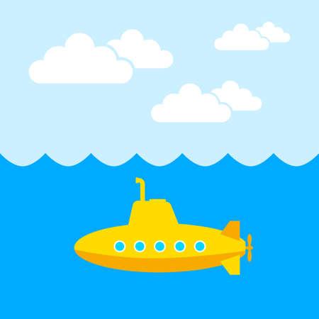Yellow submarine vector icon Illustration