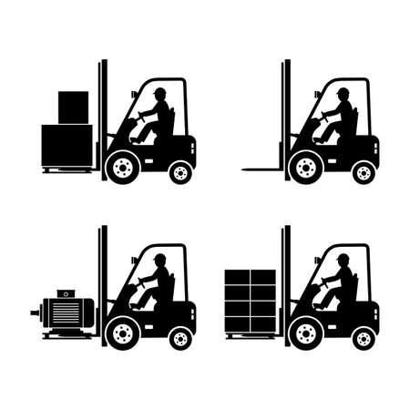 iconos de vector de camión de montacargas negro sobre fondo blanco