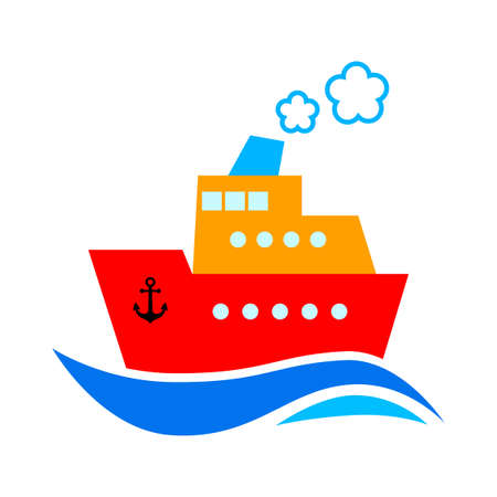Ship vector icon on white background, isolated object Illustration