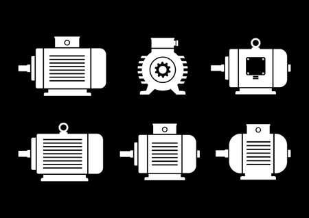 검정색 배경에 흰색 전기 모터 아이콘 일러스트