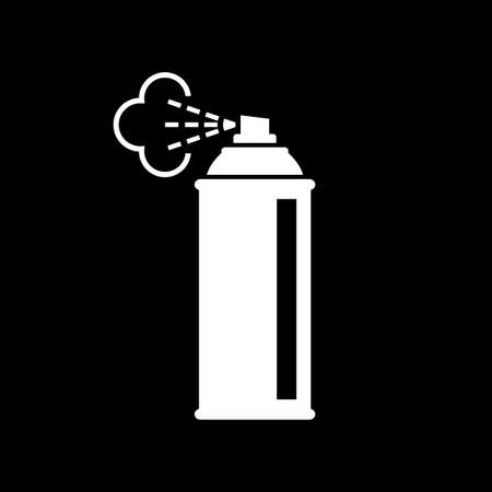 White spray can icon on black background