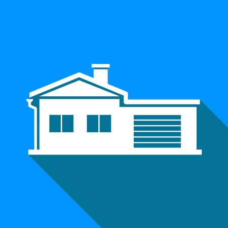Huis vector pictogram op blauwe achtergrond