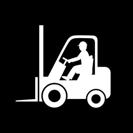 Forklift truck vector icon on black background. Vectores