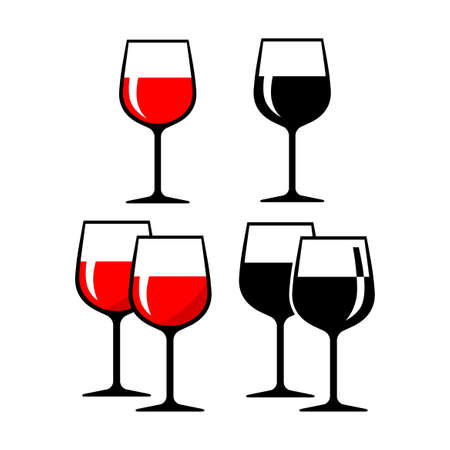 Wineglass vector icons on white background