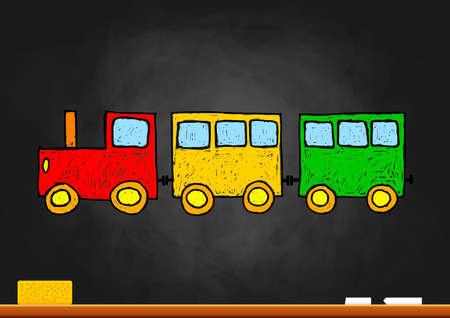 Train drawing on blackboard