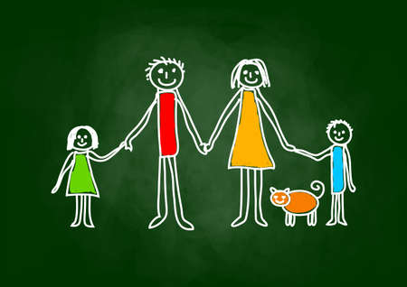 Drawing of a family on a blackboard vector illustration