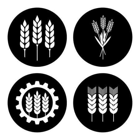 Black and white industrial icon on white background Illustration
