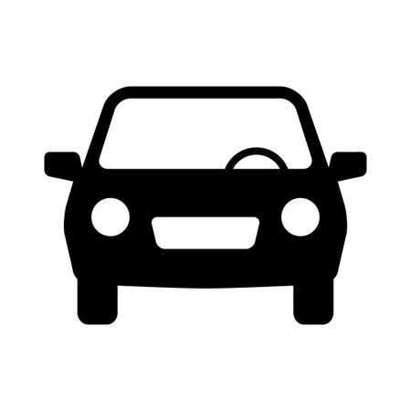 Black car vector icon, isolated object on white background