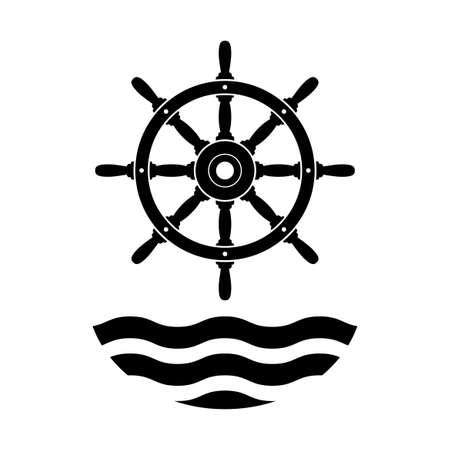 Black rudder vector icon on white background Иллюстрация