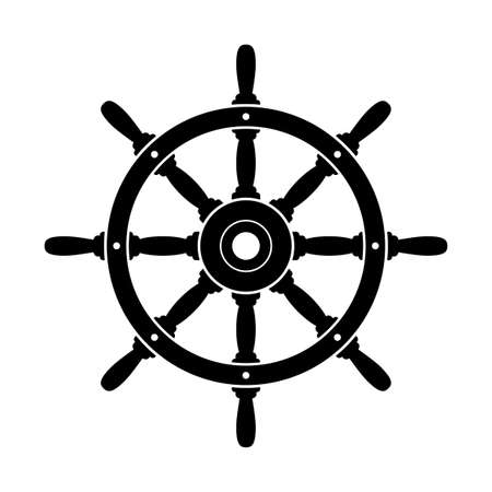 Black rudder vector icon on white background