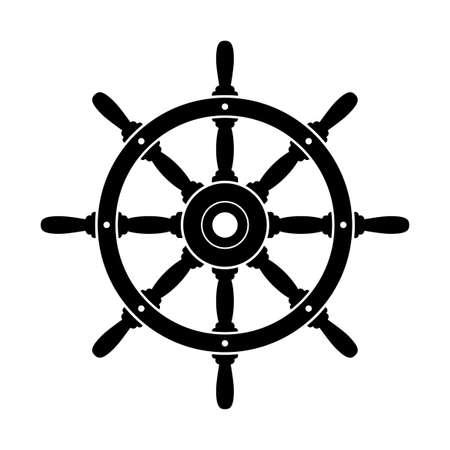 Icona di vettore del timone nero su sfondo bianco Vettoriali