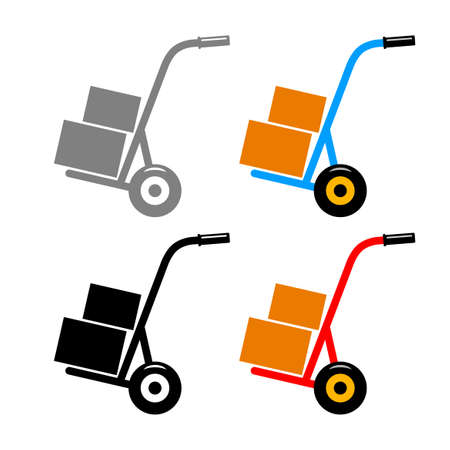 Hand truck vector icons on white background