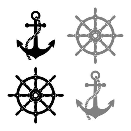 Rudder and anchor vector icons on white background