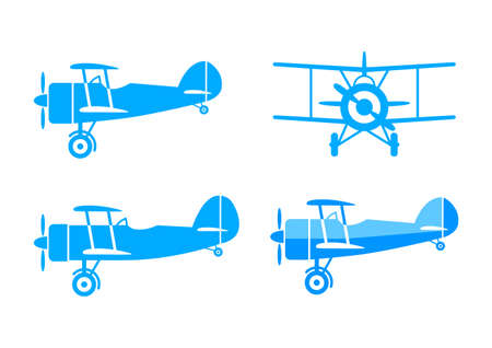 Blue aircraft vector icons on white background