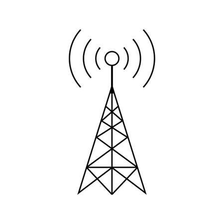 Schwarzes Sendervektorsymbol auf weißem Hintergrund Standard-Bild - 109422990
