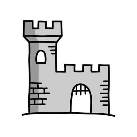 Castle drawing on white background