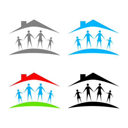 Family vector icons on white background