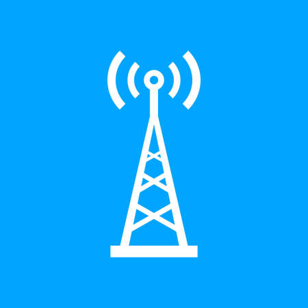 White transmitter vector icon on blue background