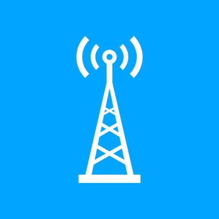 Wit zender vector pictogram op blauwe achtergrond