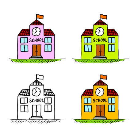 School drawing on white background Иллюстрация