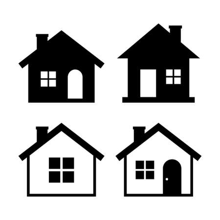 House vector icons on white background