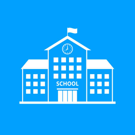 School vector icon, white building on blue background