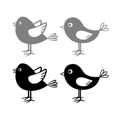 Bird vector icons on white background Иллюстрация