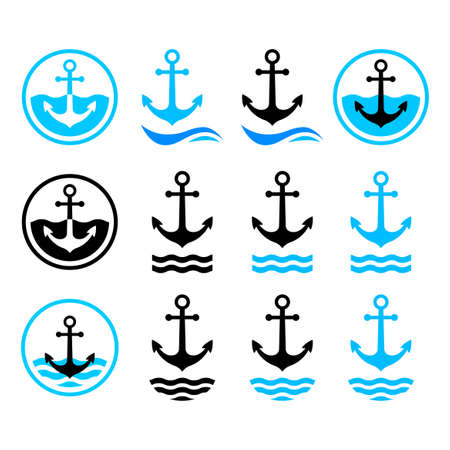 Anchor vector icons on white background