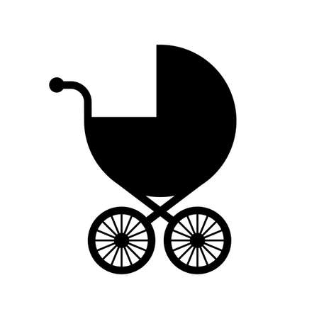Baby stroller vector icon on white background Иллюстрация