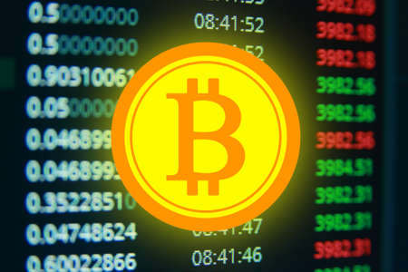 Golden bitcoin, virtual money Фото со стока