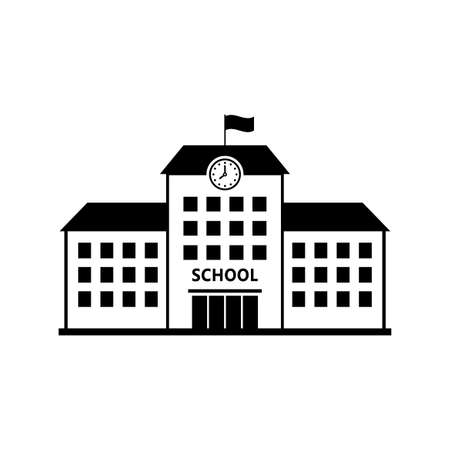 School vector icon, isolated building on white background