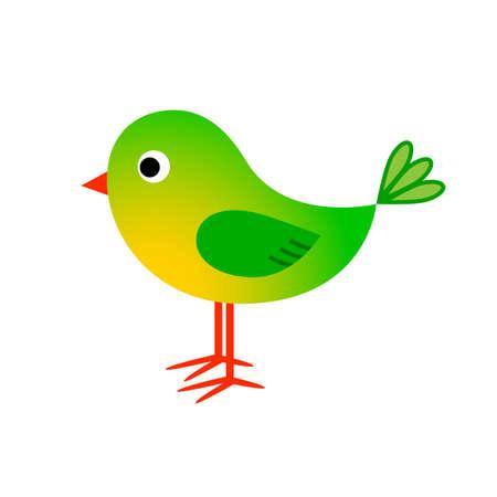 Green bird vector icon on white background Иллюстрация