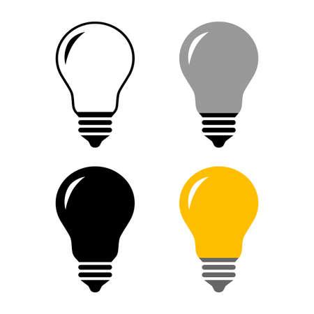 Lightbulb vector icons on white background