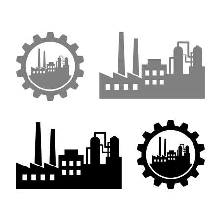 Industrial vector icons on white background