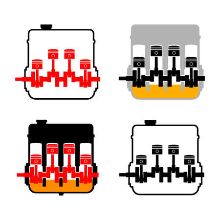 Engine vector icons on white background Иллюстрация