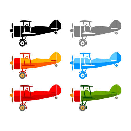 Aircraft vector icons on white background Иллюстрация
