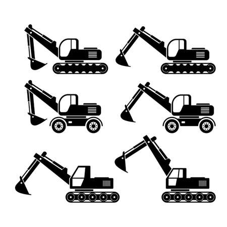 Excavator vector icons on white background