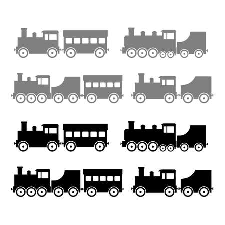 Train vector icons on white background Иллюстрация