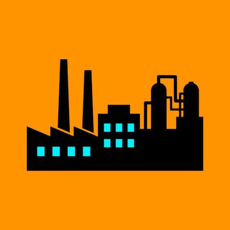 Factory vector icon on orange background