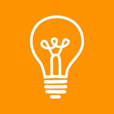 Lightbulb vector icon on orange background