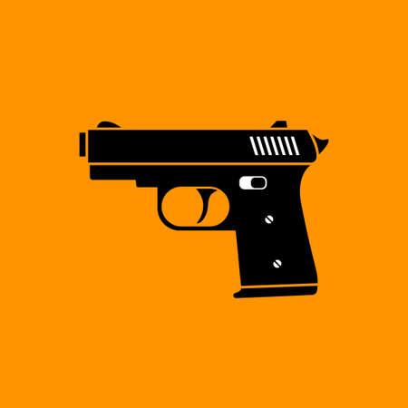 Gun vector icon on orange background