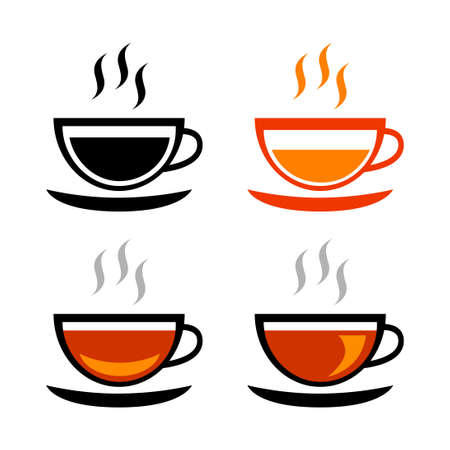 Tea cup vector icons on white background