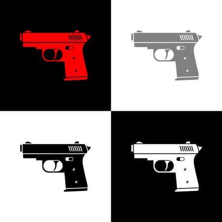 Gun icon set, vector illustration