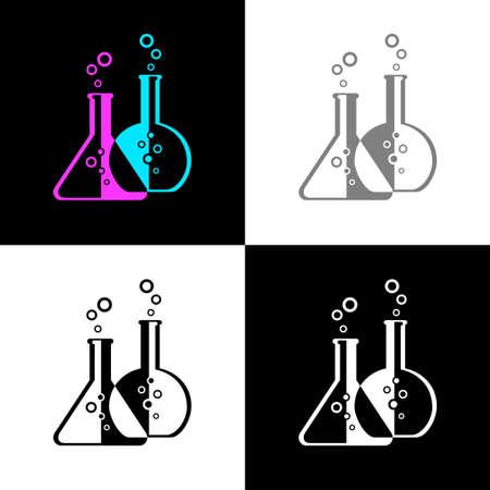 Laboratory glass icon set, vector illustration