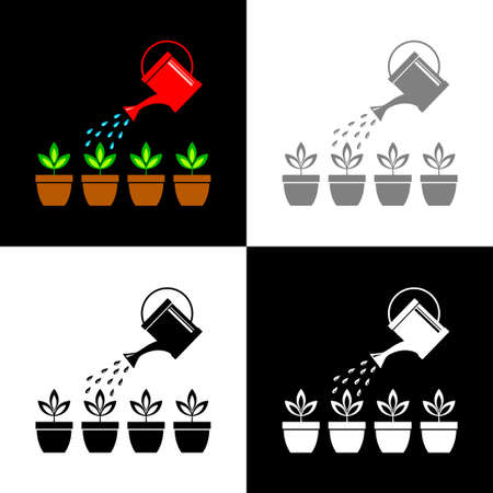 Watering can and plants, vector illustration